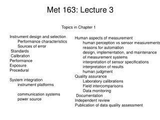Met 163: Lecture 3