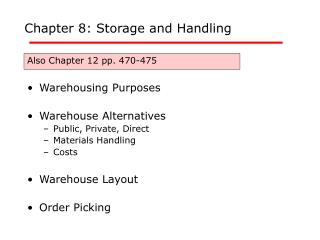 Chapter 8: Storage and Handling