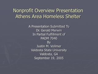 Nonprofit Overview Presentation  Athens Area Homeless Shelter