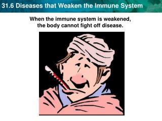When the immune system is weakened,  the body cannot fight off disease.
