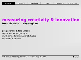 measuring creativity & innovation from clusters to city-regions