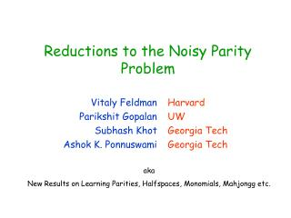 Reductions to the Noisy Parity Problem