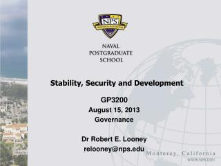Stability, Security and Development