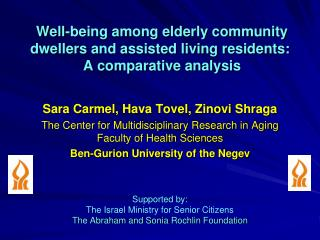 Well-being among elderly community dwellers and assisted living residents:  A comparative analysis