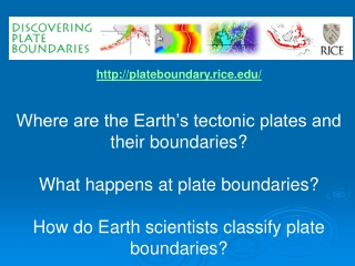 plateboundary.rice/ Where are the Earth's tectonic plates and their boundaries?