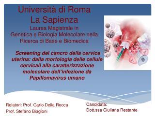 Relatori: Prof. Carlo Della Rocca Prof. Stefano Biagioni