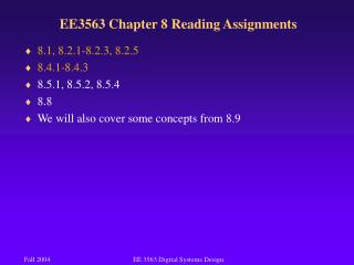 EE3563 Chapter 8 Reading Assignments
