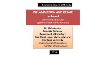 INFLAMMATION AND REPAIR Lecture 4 Chronic inflammation Systemic effect of inflammation