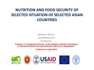 NUTRITION AND FOOD SECURITY OF SELECTED SITUATION OF SELECTED ASIAN COUNTRIES