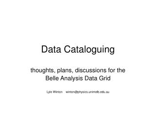Data Cataloguing