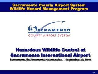 Sacramento County Airport System Wildlife Hazard Management Program