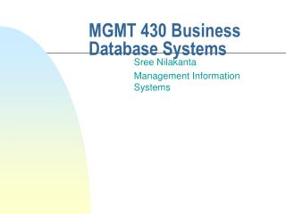 MGMT 430 Business Database Systems