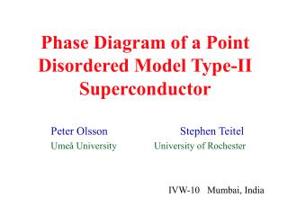 Phase Diagram of a Point Disordered Model Type-II Superconductor