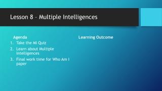 Lesson 8 – Multiple Intelligences
