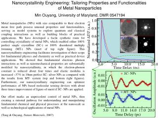 Nanocrystallinity Engineering: Tailoring Properties and Functionalities  of Metal Nanoparticles
