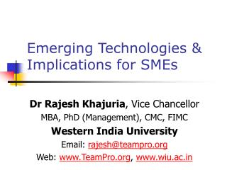 Emerging Technologies  Implications for SMEs