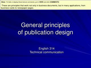 General principles of publication design