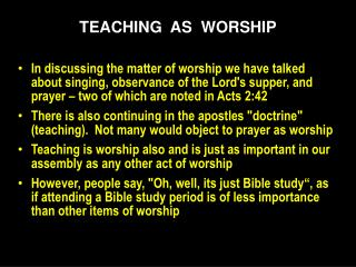 TEACHING   AS   WORSHIP