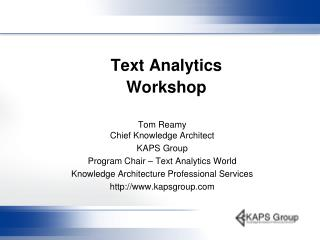 Text Analytics Workshop