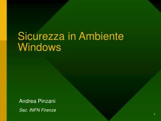 Sicurezza in Ambiente Windows