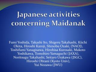Japanese activities concerning  Maidanak