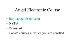 Angel Electronic Course