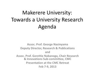 Makerere University: Towards a University Research Agenda