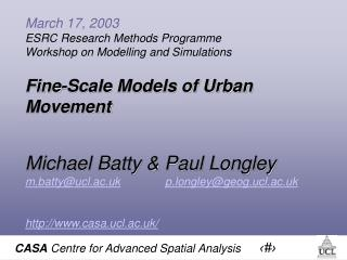 March 17, 2003  ESRC Research Methods Programme  Workshop on Modelling and Simulations