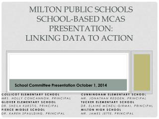 Milton Public Schools  School-Based MCAS Presentation:   Linking Data to Action