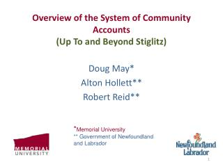 Overview of the System of Community Accounts (Up To and Beyond Stiglitz)