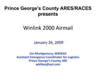 Winlink 2000 Airmail January 26, 2009