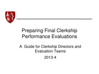 Preparing Final Clerkship Performance Evaluations
