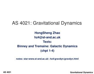 AS 4021: Gravitational Dynamics