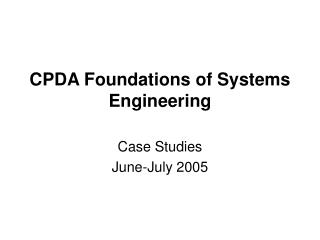 CPDA Foundations of Systems Engineering