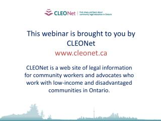 This webinar is brought to you by CLEONet cleonet