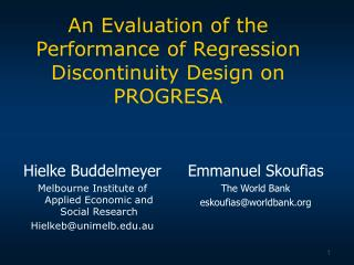 An Evaluation of the Performance of Regression Discontinuity Design on PROGRESA