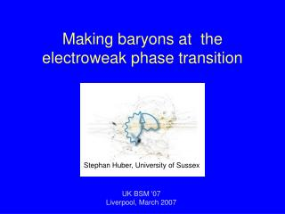 Making baryons at  the                  electroweak phase transition