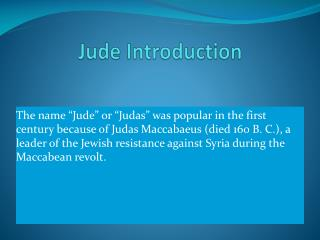 Jude Introduction