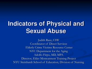Indicators of Physical and Sexual Abuse
