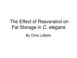 The Effect of Resveratrol on Fat Storage in  C. elegans