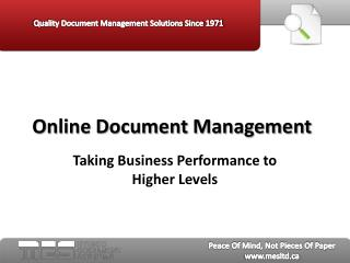 Online Document Management: Taking Business Performance to