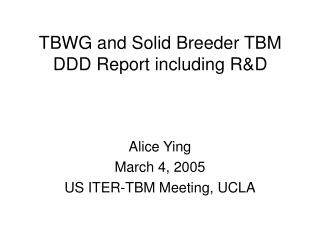 TBWG and Solid Breeder TBM DDD Report including R&D
