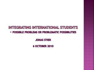 Integrating  international students