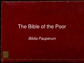 The Bible of the Poor