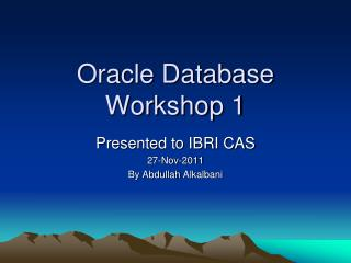 Oracle Database Workshop 1