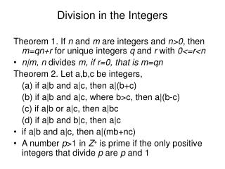 Division in the Integers