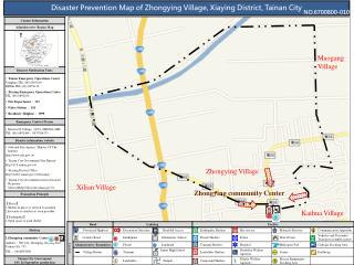 Disaster Prevention Map of Zhongying Village, Xiaying District, Tainan City