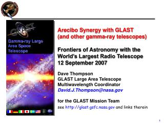 Arecibo Synergy with GLAST            (and other gamma-ray telescopes)