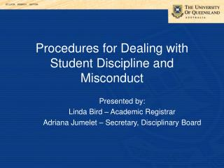 Procedures for Dealing with Student Discipline and Misconduct