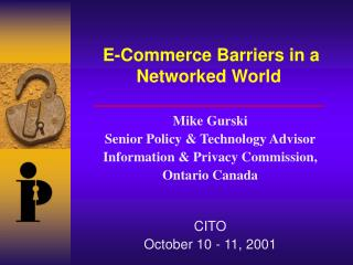 E-Commerce Barriers in a Networked World